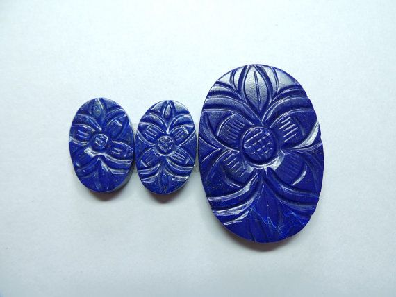 Exclusive Natural Lapis Lazuli Carving Focal Cut by StarGemBeads