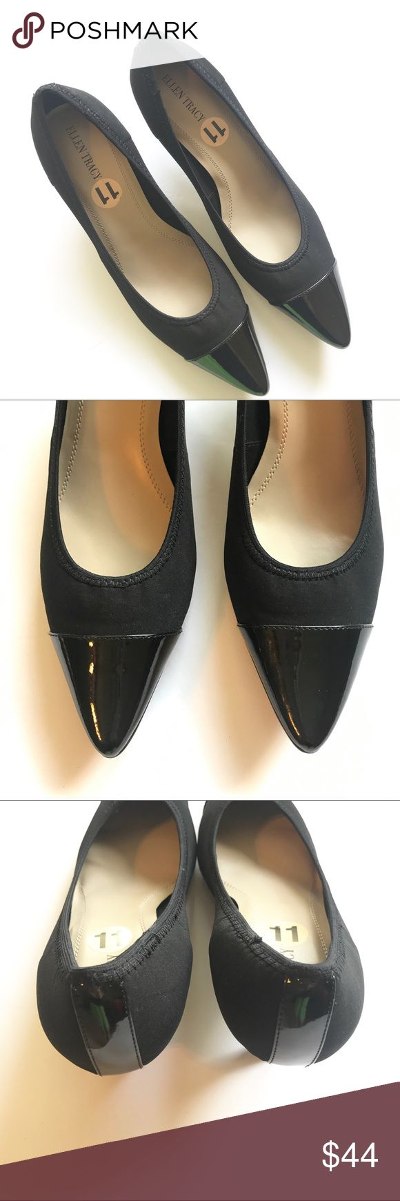 "Ellen Tracy 'Peggy' Mid Heeled Pumps Size 11 NWOT Ellen Tracy pumps have a manmade upper with stretch for comfort and a pointed, patent leather toe cap with a patent leather strip on the back of the shoe. Heel measures approximately 2"". Width is Medium (B, M) Style: Peggy. Smoke free home. Ellen Tracy Shoes Heels"