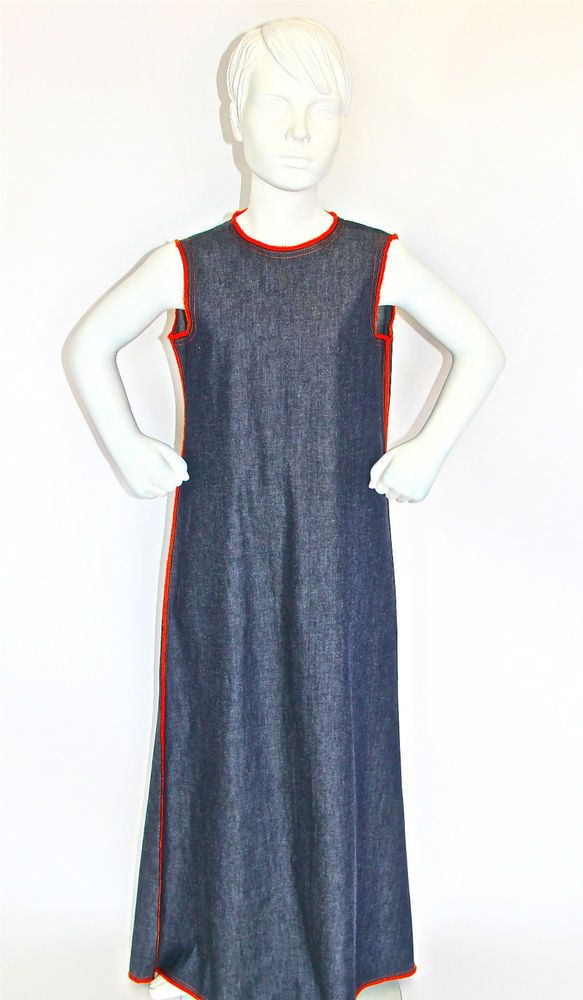 Sleeveless Light Weight Denim Girls Dress With JacketLong sleeveless Denim Dress & Bolero Jacket Invisible zipper on centre centre back of dress.  Available in very light weight denim:  Choose Contrast overlocking in orange (looks red in photo) Available in girls sizes 10. Made in Sydney, Australia