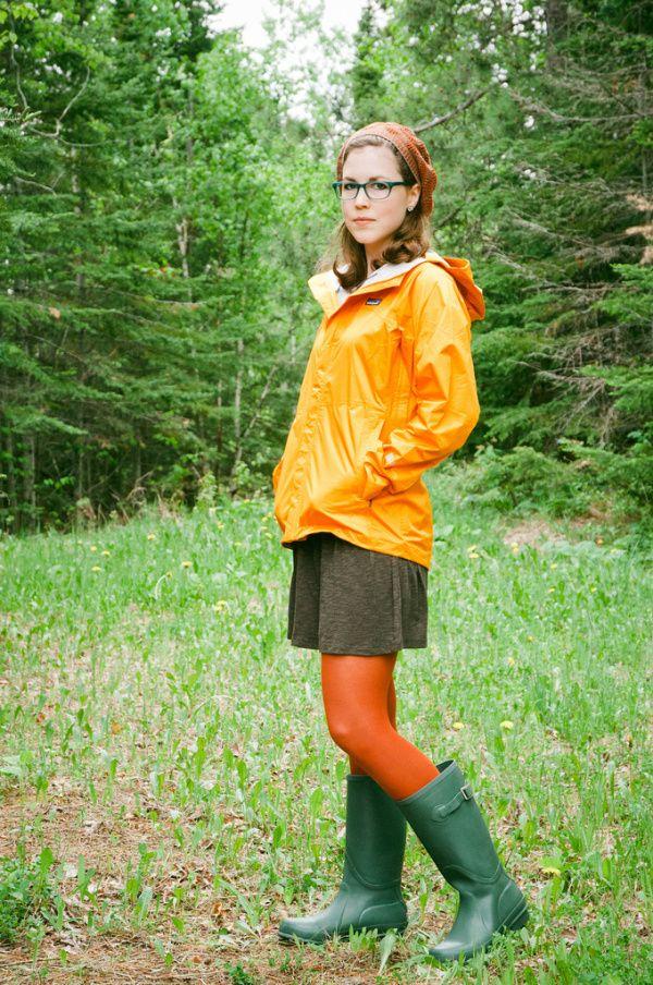 Orange Patagonia rain jacket