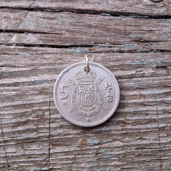 Pendant Coin. Coin necklace. Spain 5 pesetas от JewelryForYourself