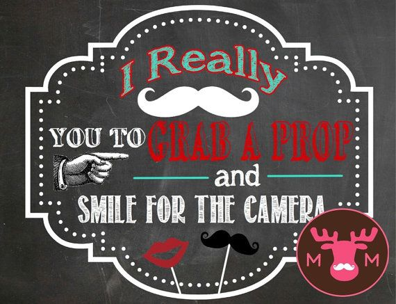 INSTANT DOWNLOAD - Photo Booth Sign - Grab A Prop - Red & Teal - Weddings, Little Man Birthday - Chalkboard Look