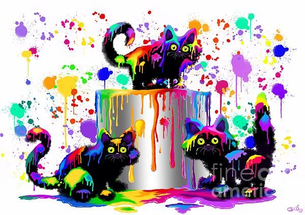 """""""Who Me?"""" Kittens playing in colorful rainbow colors by Nick Gustafson ♥༺❤༻♥"""