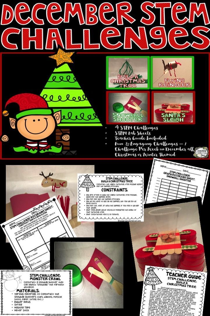STEM challenges for the month of December all Christmas or Winter themed.  Your class will have fun constructing a Christmas tree, snowball shooter, a flying reindeer, and building Santa a new sleigh.  These STEM challenges are sure to keep your students busy and engaged during the holiday season!