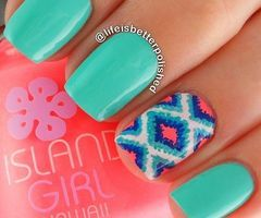 nails,summer,mint colour,stylish