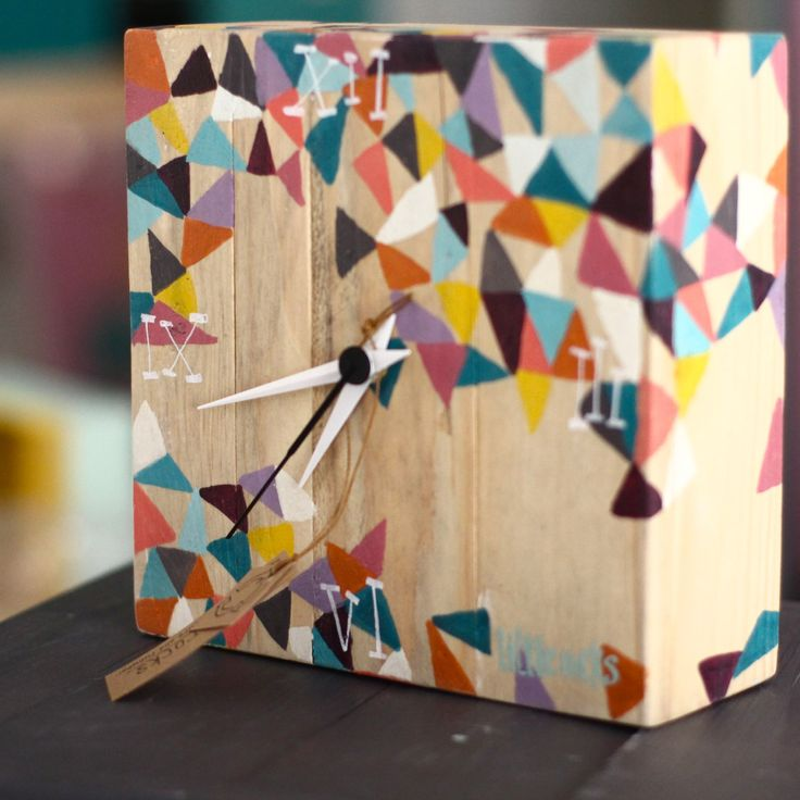 Colorfull triangles hand painted clock made with reclaimed wood pallets little rocks by littlerocksPK on Etsy