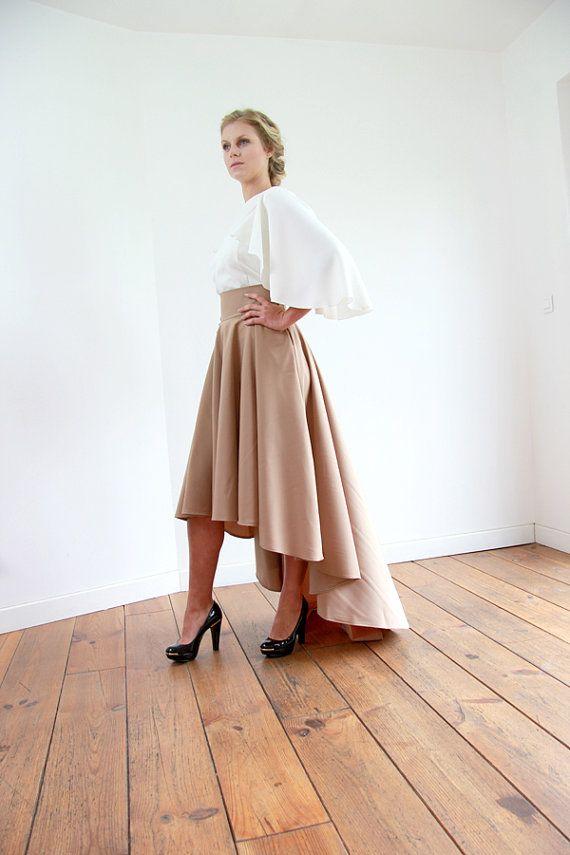 High low skirt hi lo skirt brow high low maxi skirt by JolyDagmara