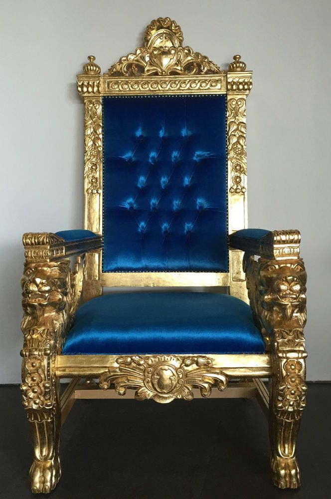 Hollywood Regency Royal Blue U0026 Gold Xl Lion Head King Chair Gothic Queen  Throne