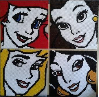 Disney Princesses perler bead sprites by Yazz