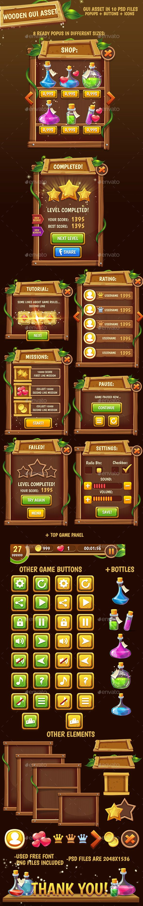 Fantasy Wooded Game Interface  #app game #assets #button • Available here → http://graphicriver.net/item/fantasy-wooded-game-interface/15888421?ref=pxcr