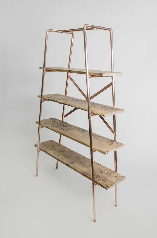 Large 4 shelf tapered copper pipe and reclaimed wood free-standing unit