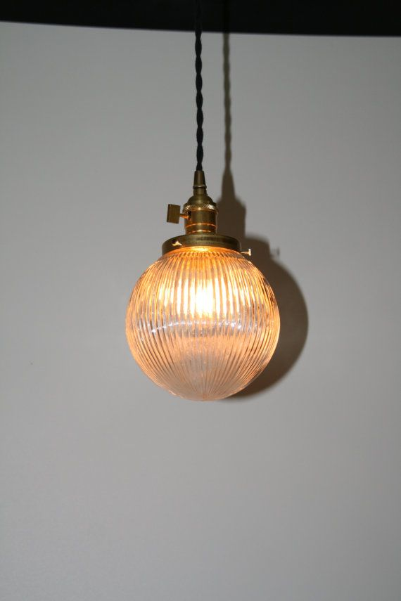 "6"" Ribbed Glass Globe Pendant Light -  Hanging Pendant - Vintage Style Cloth Cord"