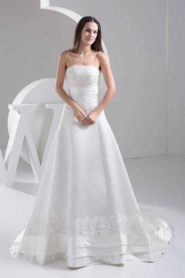 Robe de mariée naturel a-ligne vie manche nulle en satin