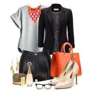 Кремовые туфли, черные шорты, черный пиджак, светло-серая кофта, оранжевая сумка