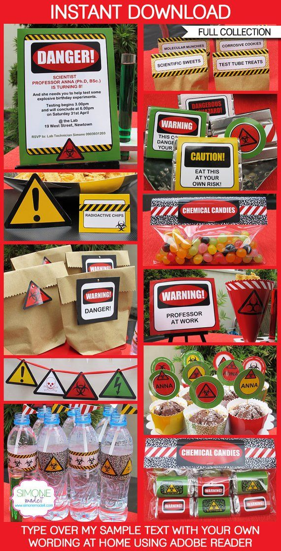 mad science party ideas and supplies  Science Party Invitations & Decorations - full printable collection