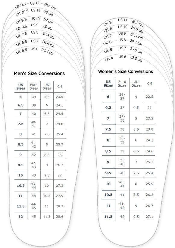 Schuhe Maßtabelle für druckbare Erwachsene (Män…