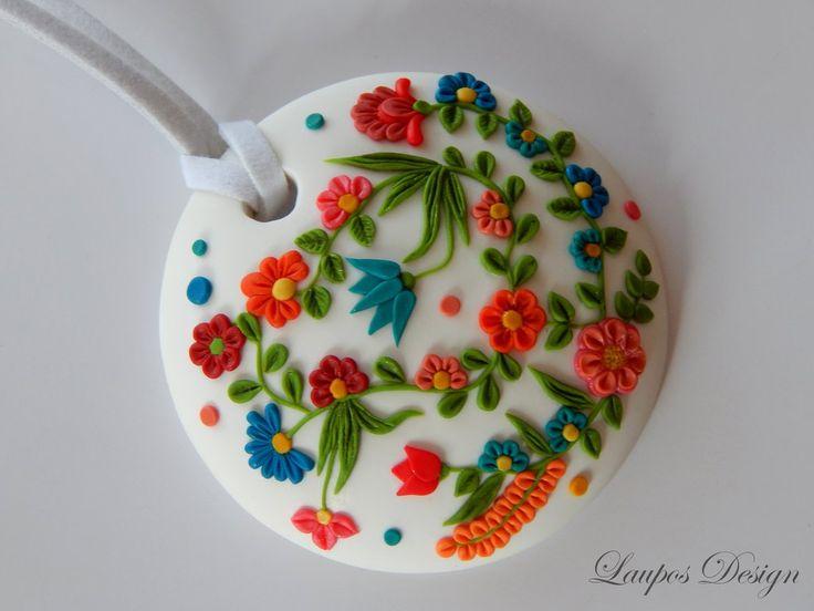 Spring Flowers Pendant Polymer Clay Applique Technique  Flowers
