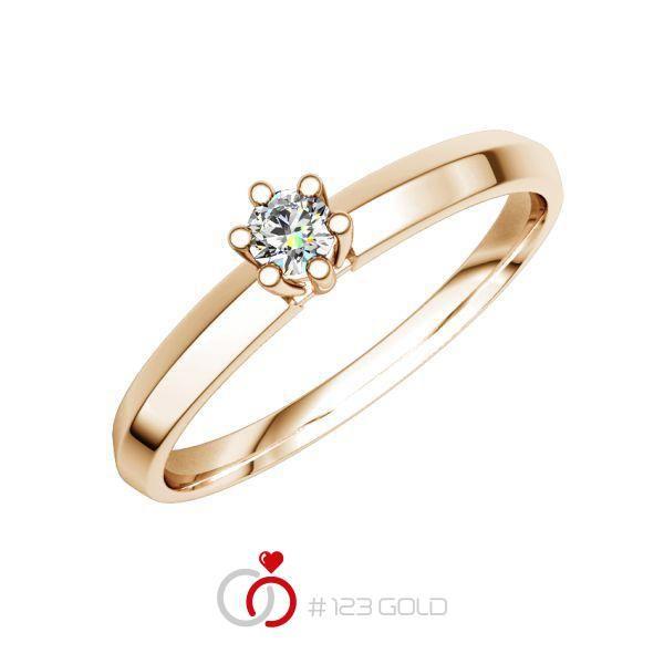 Verlobungsring Diamantring 6 Krappen, Dachschiene- Legierung: Rotgold 585/- - Steinbesatz: 1 Brillant 0,08 ct. w, si