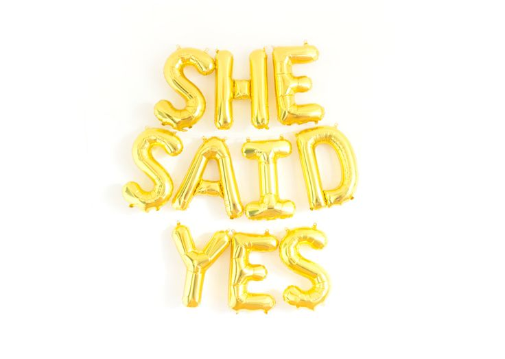 She Said Yes Banner, She Said Yes Sign, Engagement Prop, Engagement Balloons, Engagement Party Decor by StudioPep on Etsy https://www.etsy.com/listing/466992142/she-said-yes-banner-she-said-yes-sign
