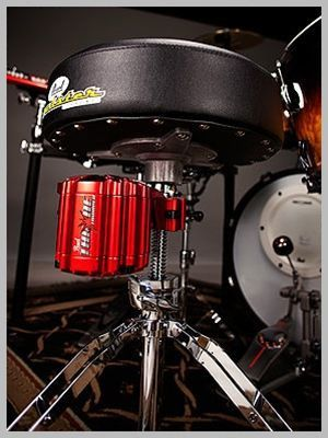 The ultimate low end feel machine attaching directly to the drum throne Introducing the Throne Thumper from Pearl Drums. Pearl partnered with ButtKicker to develop the ultimate low-end feel machine th