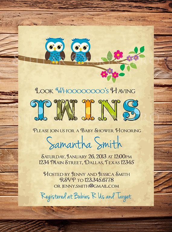 Twins Baby Shower Invitation Owl Family Baby by StellarDesignsPro, $21.00