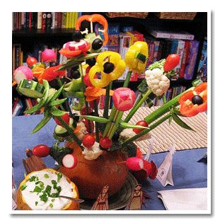 Spring/Summer get together~Healthy Veggie Dip Centerpiece, Edible and Pretty Centerpiece Idea
