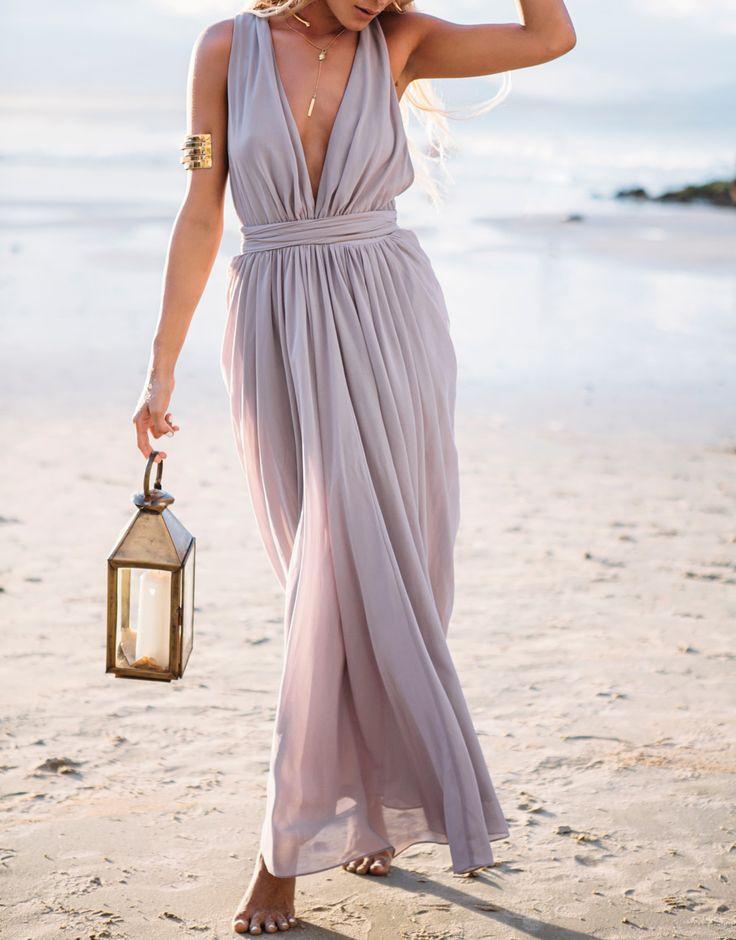 maxi robe col v foncé -violet clair  19.31