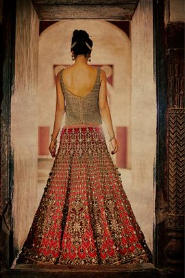 Bridal Lehengas - Marsala and Gold Lehenga | WedMeGood | Gold Checkered Blouse with a Heavily Embellished Marsala Lehenga by Diva'ni  #wedmegood #marsala #bridal #lehengas