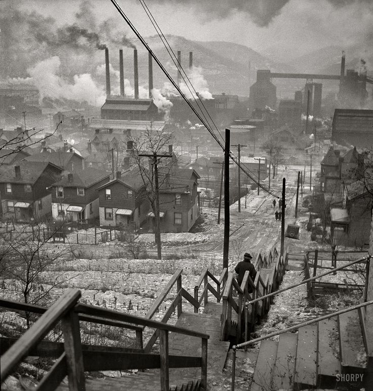 "January 1940. ""Long stairway in mill district of Pittsburgh, Pennsylvania."" Medium-format nitrate negative by Jack Delano for the FSA."