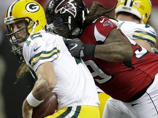 Packers vs. Falcons:    October 30, 2016  -  33-32, Falcons  -     Atlanta Falcons defensive end Adrian Clayborn (99) sacks Green Bay Packers quarterback Aaron Rodgers (12) during the Atlanta Falcons' 33-32 victory over the Green Bay Packers on Sunday, October 30, 2016, at the Georgia Dome in Atlanta, GA.  Wm. Glasheen/USA TODAY NETWORK-Wisconsin