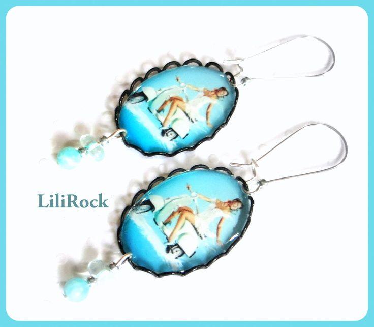 """""""Vintage Summer...!"""" boucles d'oreilles cabochon noir : Boucles d'oreille par lilirock"""
