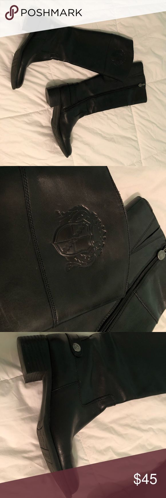 black franco sarto riding boots franco sarto chipper women's riding boot. ***real leather*** normal wear. small knick (picture 6) on inside side of right boot. very comfortable and versatile! Franco Sarto Shoes Heeled Boots