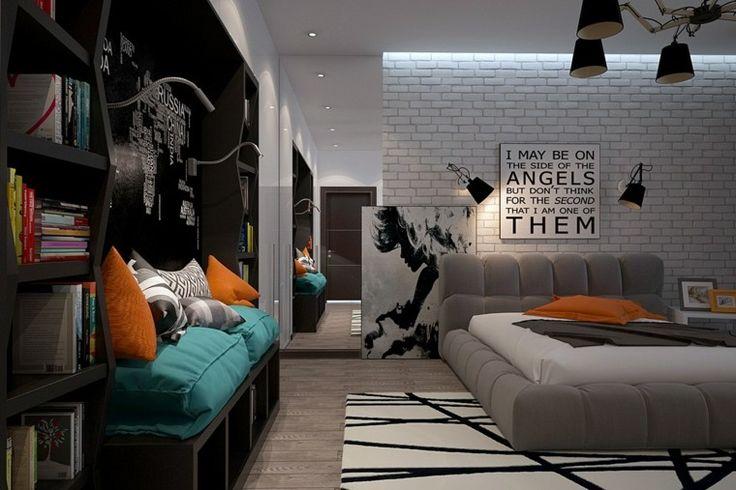 pared de ladrillo blanco en el dormitorio del adolescente