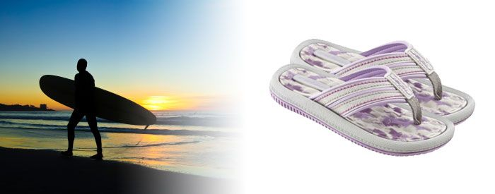 Dunas IV Kids - Pink & Purple Step to a different beat with this trendy, graphic and textured flip-flop in bold and bright colors. A slim but resilient Flexpand insole and narrow toe post make these sandals as comfy as they are eyecatching.