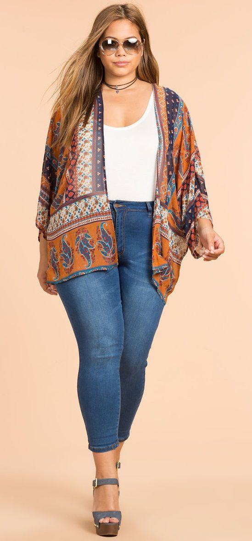 Plus Size Boho Kimono