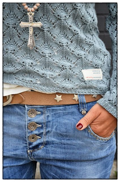 Odd Molly Sweater - nice detail around the jean pocket