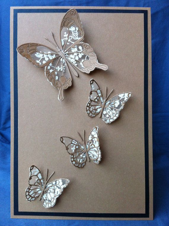 Cotton Lace Butterflies Cards, Handmade, Ivory, Chic Wedding Baptism or Christening Cotton Lace invitations - Rustic  recycled kraft card