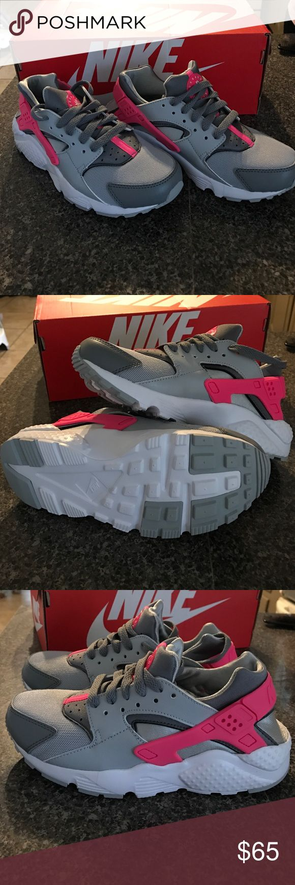 Nike Huarache Run size 4y Pink and Grey Nike Huarache Run for girls in a size 4y, these shoes are brand new with the box! Nike Shoes Sneakers