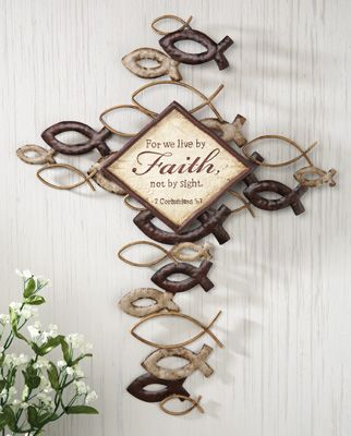 Christian Fish Ichthys Religious Wall Cross - Ichthus Cross Wall Decorations