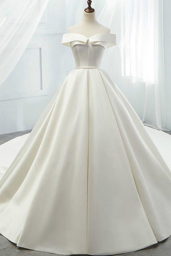 [193.50] Modest Satin Off-the-shoulder Neckline A-line Wedding Dresses With Belt