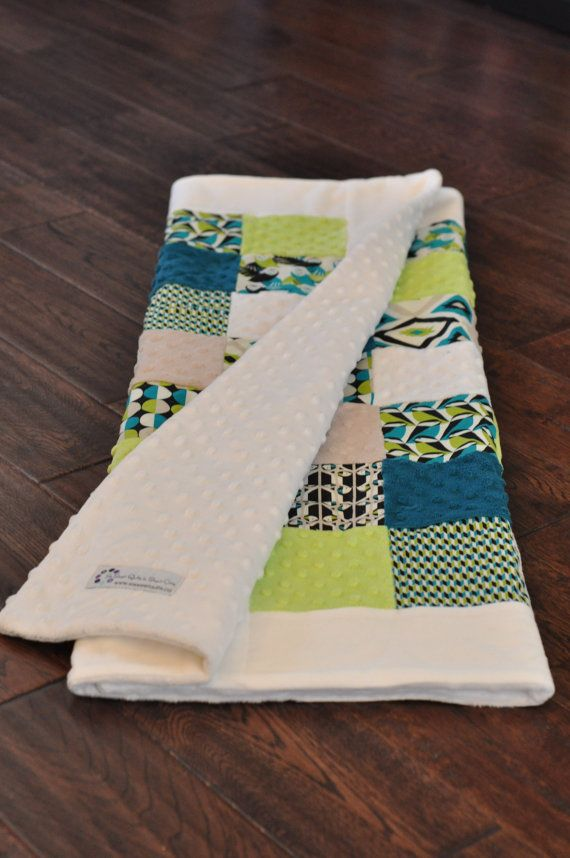 Modern, geometric teal, lime, and white baby quilt. Boy quilt or girl quilt. Cotton and minky fabrics. Perfect for lime nursery.