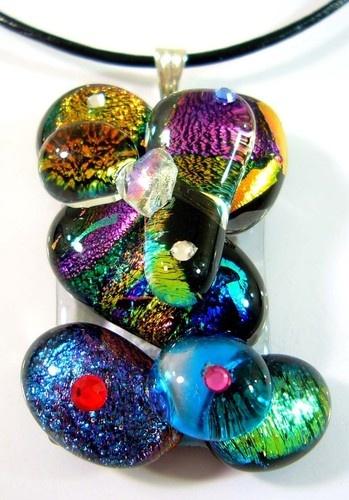 Genuine Dichroic Glass Swarovski Pendant Necklace £3.99 #jewelry