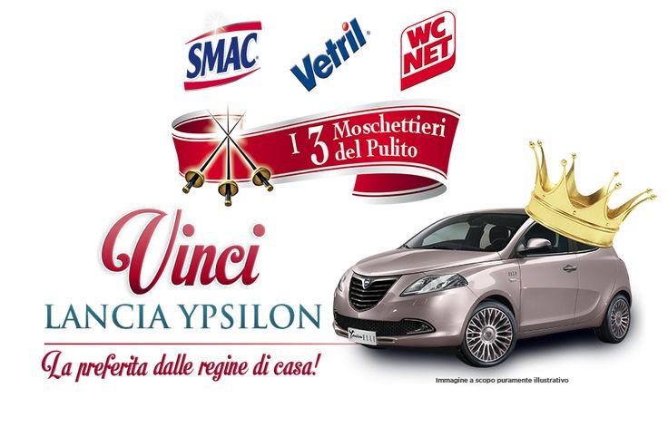 Partecipate al contest I tre Moschettieri del Pulito: acquistate due prodotti a scelta tra Smac, Vetril e WC Net per vincere una favolosa Lancia Y Elle!