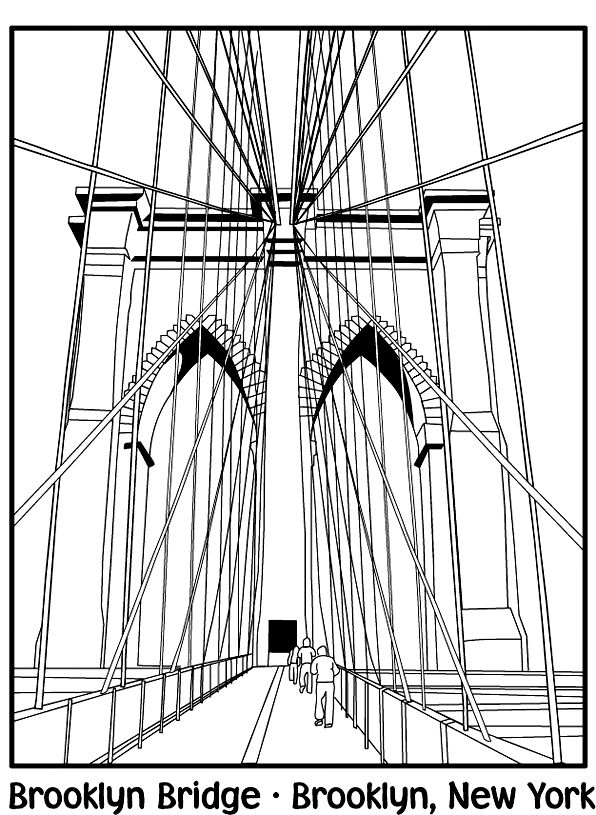 Brooklyn Bridge Coloring Page Geography Famous