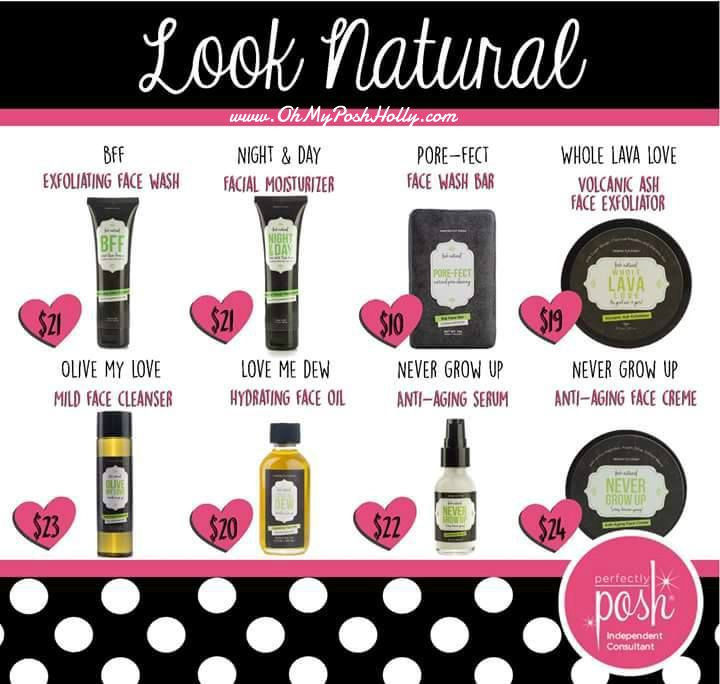 NewsFLASH.... Don't Try a single Perfectly Posh item without Trying The Look Natural Line... I know each and everyday you see me saying I Love Posh WELL DARNIT.... I DO.... I can't help it.. my face has changed soooooo much Each Day I use the Porefect bar in the morning and then put on the anti aging serum  At night I wash with BFF and moisturize with the Anti Aging Serum and Cream  A couple of times a week I wash with the Olive My Love at night.. just cause I dang well Love how it feels and…