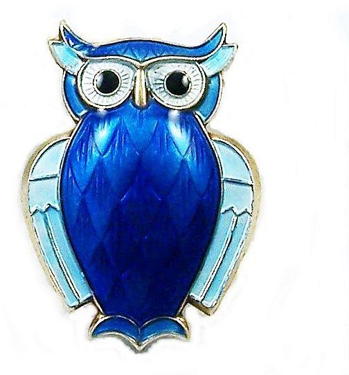 David ANDERSEN, Norway STERLING Shades of Blue Enamel Owl