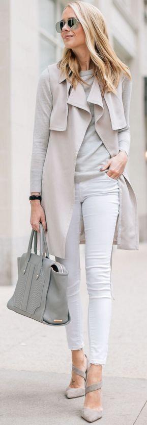 Club Monaco Trench Vest, White Skinny Jeans, Gray Sweater, Gray Tote | Light Neutrals Winter Street Style | Fashion  Jackson