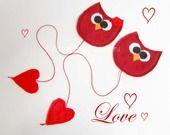 segnalibro gufi in feltro,san valentino,amore,lui lei,cuore,rosso, fatto a mano : Segnalibri di federica-creazioni