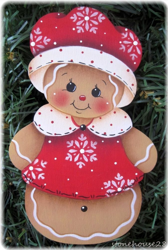 HP GINGERBREAD Winter Ginger FRIDGE MAGNET or ORNAMENT u choose #Handpainted