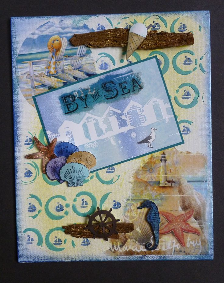 By the Sea Canvas, Imagination Craft's - Rice paper 284.  Beach hut Art stamp.  Topaz & Agean Starlight paints.  Stencils - Broken circle & Beach huts.  White stencil medium.   White Gesso.  patula.  Decoupage glue.  Alchemy waxes - Japanese Jade.  Cobalt blue, Inca gold & French Lavender.  Yellow Mixed Media spray ink.  May 2016